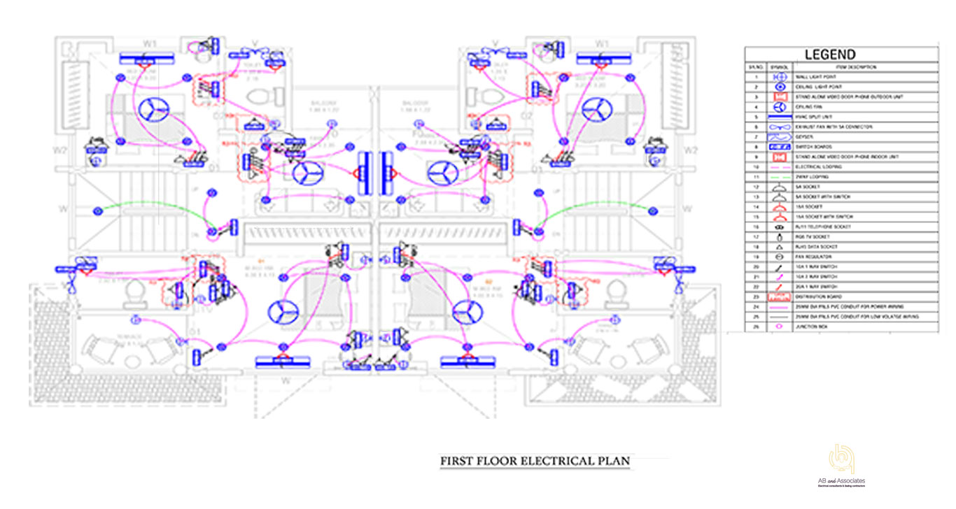 TYP-TWIN-BUNGLOW-1ST-FLR-ELEC+CONDUIT-PLAN