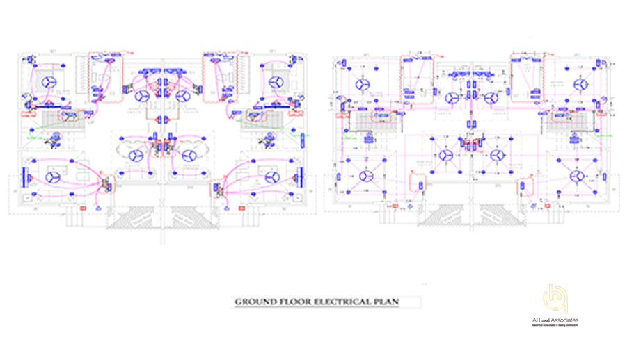TYP-TWIN-BUNGLOW-GRND-FLR-ELEC+CONDUIT-PLAN